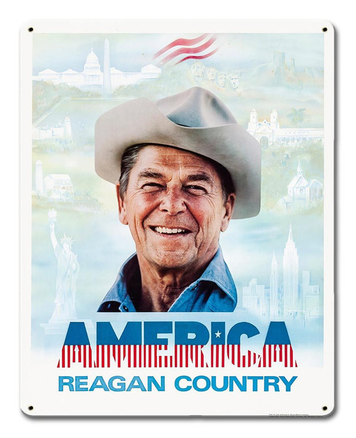 Reagan Country Metal Sign 12 x 15 Inches