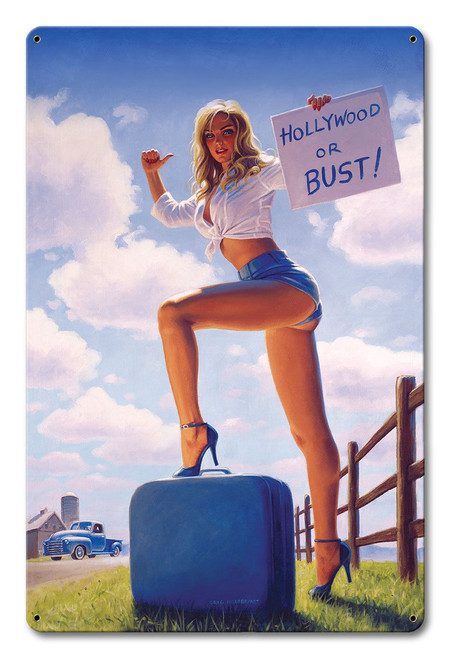 Blonde White and Blue Pinup Metal Sign v2 12 x 18 Inches