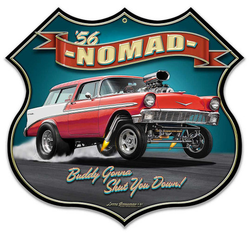 1956 Nomad Gasser Shield Metal Sign 18 x 17 Inches