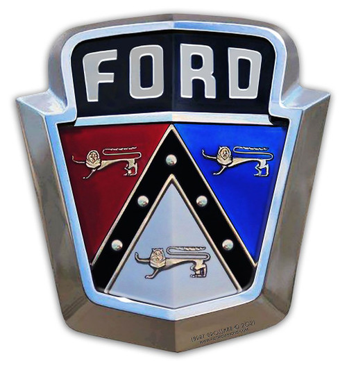1950's Ford Emblem Metal Sign 13 x 14 Inches