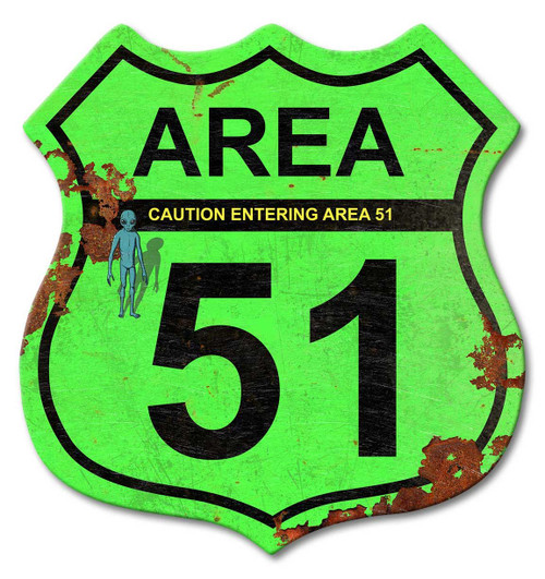 Area 51 Road Sign Shield Metal Sign 15 x 15 Inches