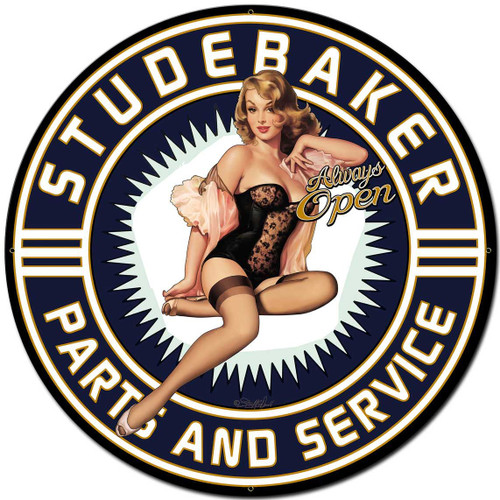 Studebaker Pinup Girl Metal Sign 30 x 30 Inches