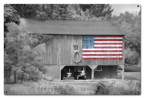 Barn Flag Metal Sign 24 x 16 Inches
