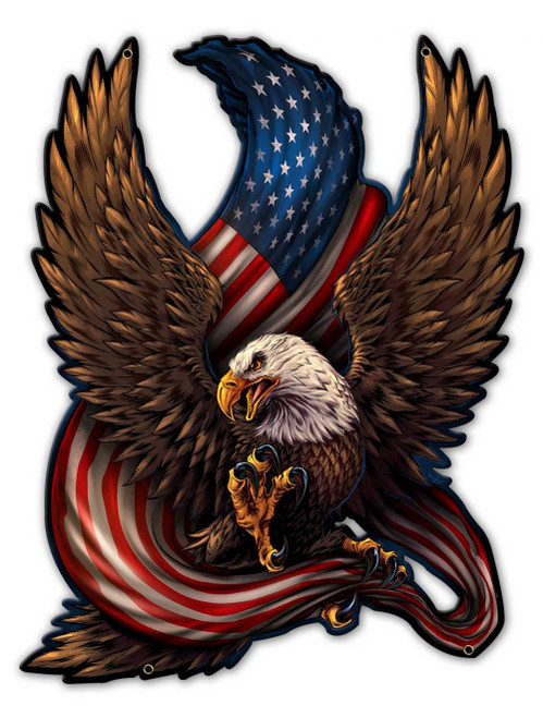 Eagle And Flag Metal Sign 17 x 22 inches