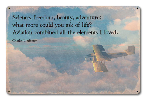 Lindbergh Aviation Quote Metal Sign 18 x 12 Inches