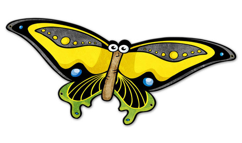 Yellow Butterfly 26 x 12 Custom Shape Metal Sign 20 x 14 Inches