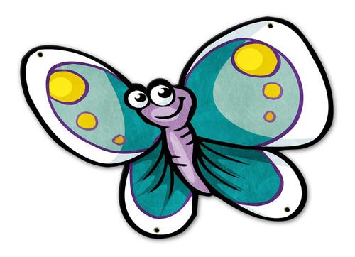 Aqua Butterfly Custom Shape Metal Sign 18 x 13 Inches