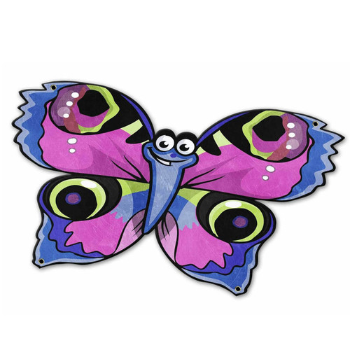Blue Pink Butterfly Custom Shape Metal Sign 19 x 13 Inches