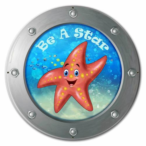 Be A Star Starfish 24 x 24 Custom Shape Metal Sign 24 x 24 Inches