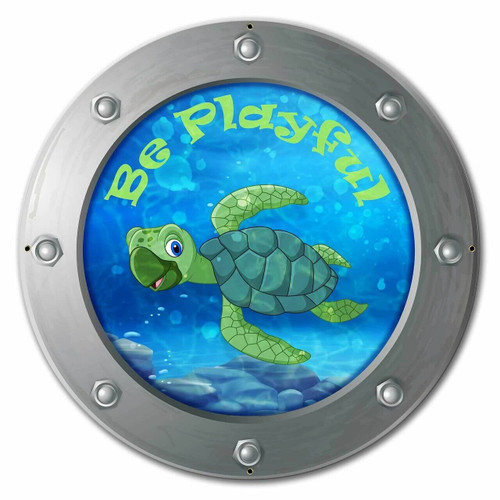 Be Playful Turtle Custom Shape Metal Sign 24 x 24 Inches
