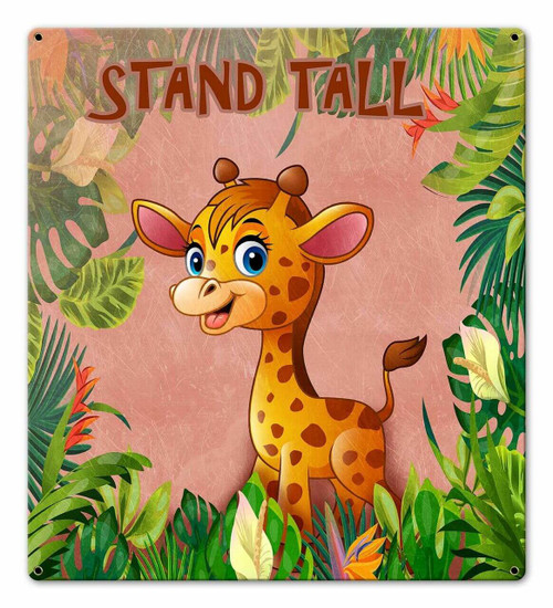 Stand Tall Giraffe Metal Sign 18 x 20 Inches