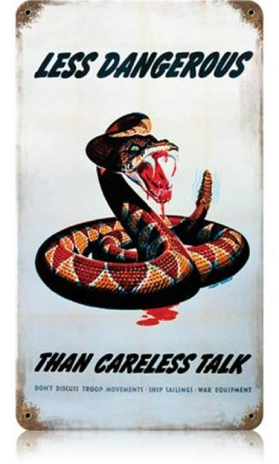 Vintage Dangerous Snake Metal Sign 8 x 14 Inches