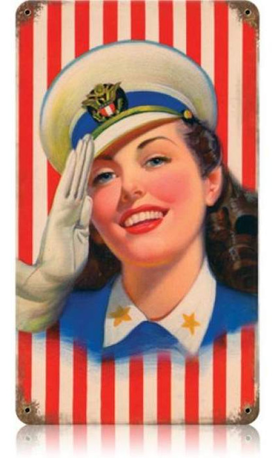 Vintage Salute Girl Metal Sign 8 x 14 Inches