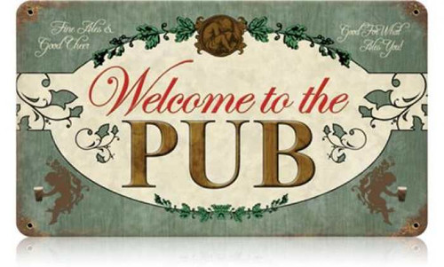 Retro Welcome Pub Metal Sign 14 x 8 Inches