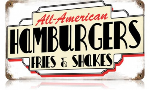 Retro All American Hamburgers Metal Sign 14 x 8 Inches