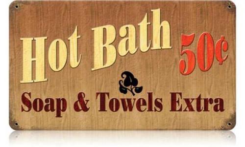 Retro Hot Bath Metal Sign 14 x 8 Inches
