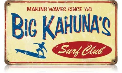 Retro Big Kahuna Metal Sign 14 x 8 Inches