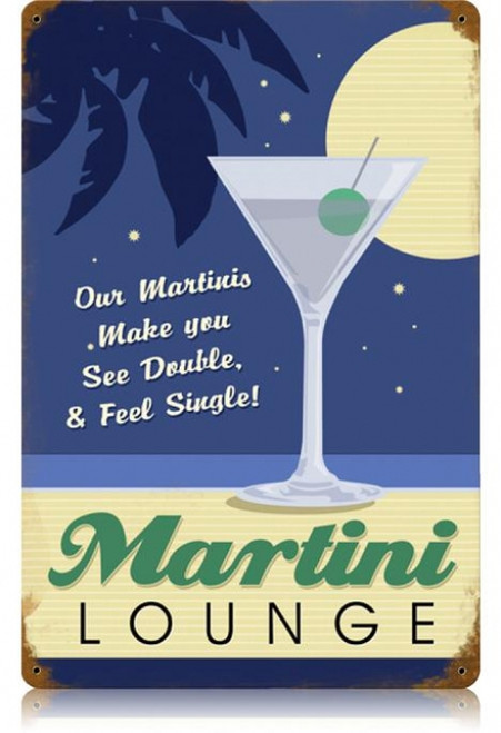 Vintage Martini Lounge Metal Sign 12 x 18 Inches