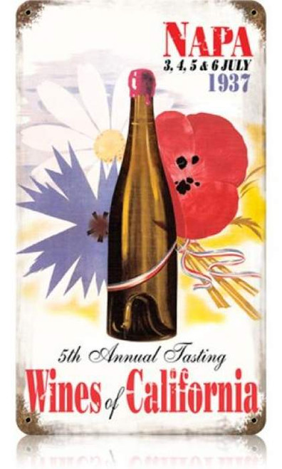 Vintage Wines of California Metal Sign 8 x 14 Inches