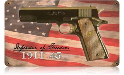 Retro Colt .45 Metal Sign 14 x 8 Inches