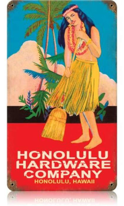 Vintage Honolulu Hardware Metal Sign 8 x 14 Inches