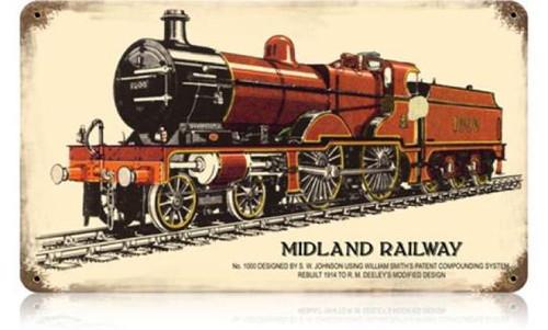 Retro Midland Railway Metal Sign 14 x 8 Inches