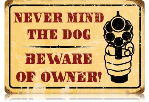 Retro Beware of Owner Metal Sign 18 x 12 Inches