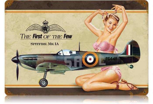 Retro Spitfire Pin Up  - Pin-Up Girl Metal Sign  18 x 12 Inches