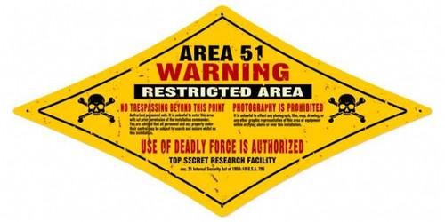 Retro Area 51 Diamond Metal Sign 24 x 12