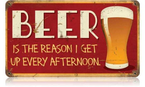 Retro Beer Afternoon Up Metal Sign 14 x 8 Inches