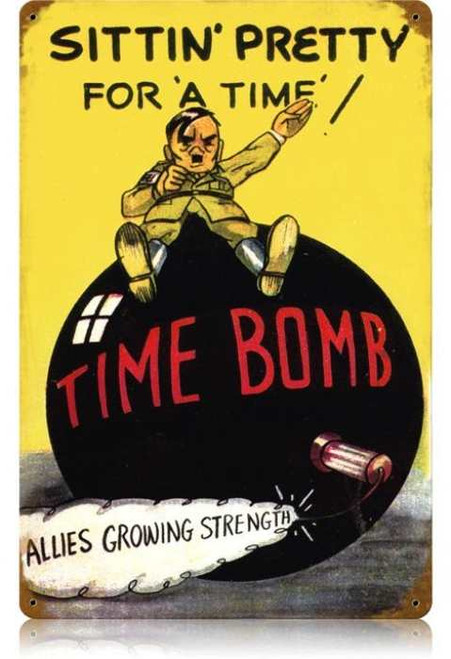 Retro Time Bomb Metal Sign 18 x 12 Inches