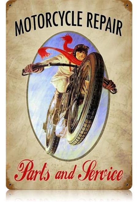 Retro Motorcycle Repair Metal Sign 18 x 12 Inches