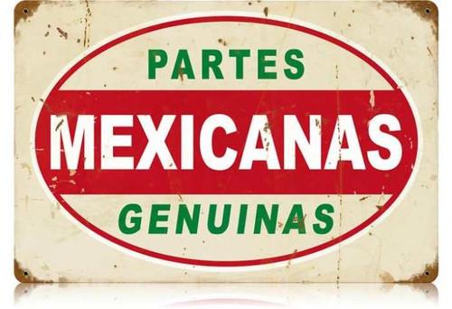 Vintage Mexicanas Partes Metal Sign 12 x 18 Inches
