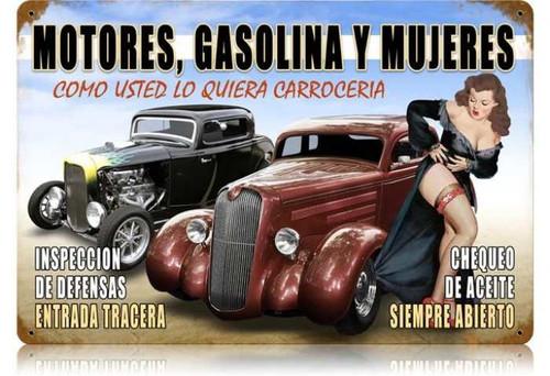 Vintage Motors y Mujeres Metal Sign 12 x 18 Inches