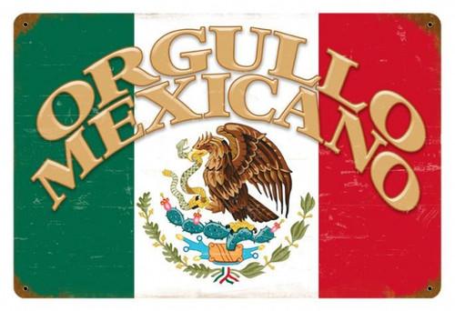Retro Orgullo Mexicano Metal Sign 18 x 12 Inches