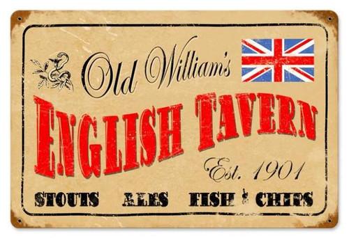 Retro English Tavern Metal Sign 18 x 12 Inches