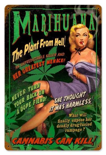 Retro Marihuana Pin Up  - Pin-Up Girl Metal Sign 18 x 12 Inches