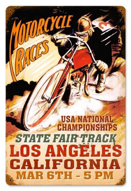 Retro LA Motorcycles Metal Sign 18 x 12 Inches