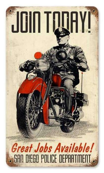 Vintage Police Motorcycle Metal Sign 8 x 14 Inches