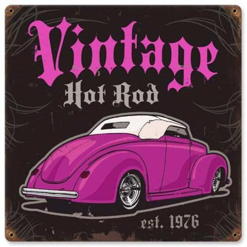 Vintage Vintage Hot Rod Metal Sign 12 x 12 Inches