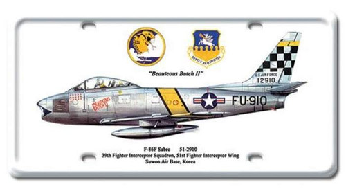 Vintage F-86F Sabre License Plate 6 x 12 Inches