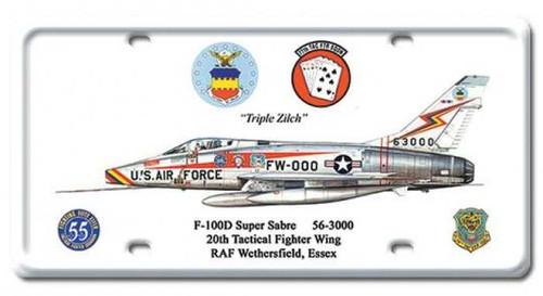 Vintage F-100D Super Sabre License Plate 6 x 12 Inches