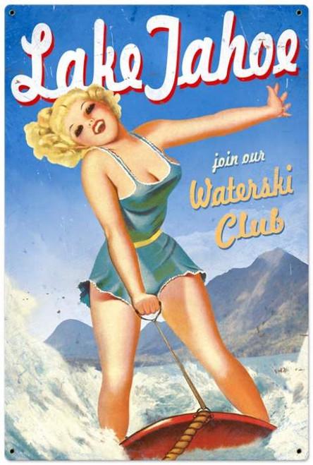 Retro Lake Tahoe Pinup  - Pin-Up Girl Metal Sign 24 x 36 Inches