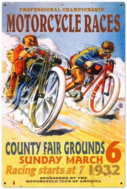 Retro Motorcycle Races Metal Sign 24 x 36 Inches