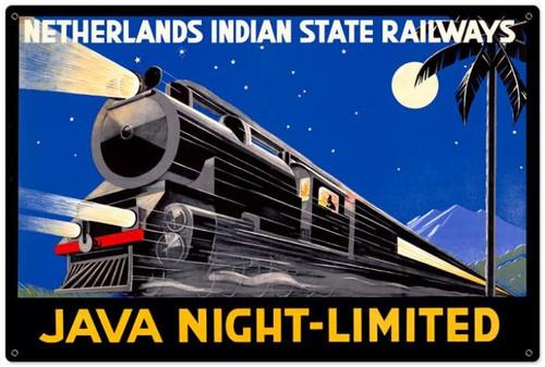 Retro Java Night Train Metal Sign 36 x 24 Inches