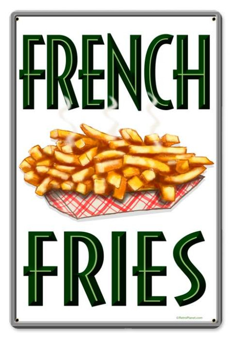 Vintage French Fries Metal Sign  12 x 18 Inches