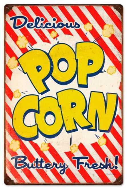 Retro Popcorn Metal Sign 16 x 24 Inches