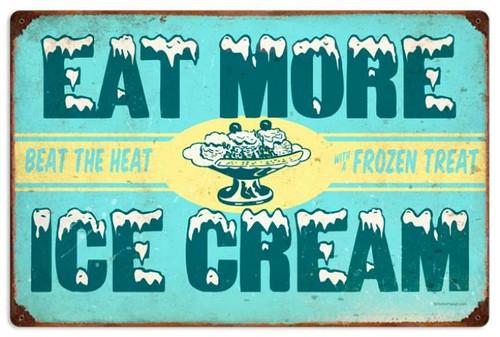 Retro Ice Cream Metal Sign 24 x 16 Inches