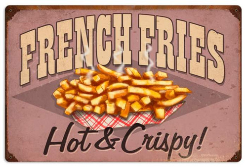 Retro French Fries Metal Sign 24 x 16 Inches