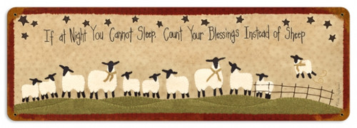 Retro Count Sheep Metal Sign 24 x 8 Inches